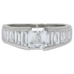 Modern 2.52 Carat Crisscut Diamond Platinum Engagement Ring GIA