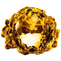 "Modern 27.75 Carat Citrine White Diamond Yellow Gold ""Dragons"" Cocktail Ring"