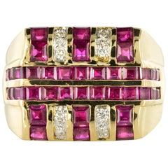 Modern 2.95 Carat Ruby Diamond Signet Ring
