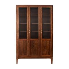 Modern 3-Doors Walnut Bookcase