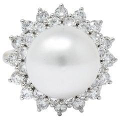 Modern 3.20 Carat Diamond Cultured South Sea Pearl 14 Karat White Gold Ring