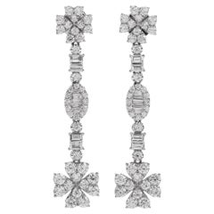 Modern 3.20 Diamond 18 Karat Gold Dangle Drop Earrings