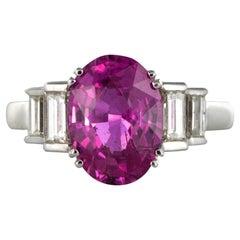 Modern 3.55 Carat Pink Sapphire and Baguette Cut Diamond Ring