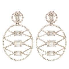 Modern 3.85 Carat Gold Diamond Earrings