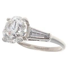 Modern 3 Carat Solitaire Baguette Diamond Platinum Engagement Ring