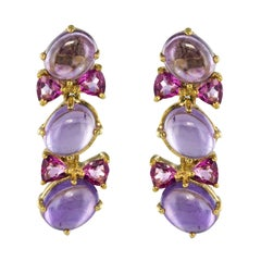 Modern 4 Carat Tourmaline 18.90 Carat Amethyst Vermeil Pendant Earrings