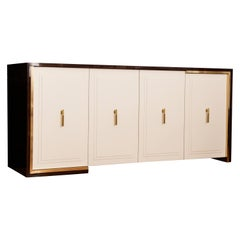Modern 4-Door Walnut Wood Cabinet Ivory Finish Handcrafted Credenza Sideboard