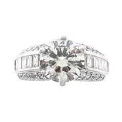 Modern 4.06 Carat Round Brilliant Cut Diamond Platinum Ring