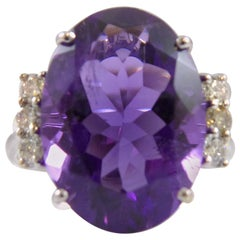 4.13 Carat Amethyst and Diamond Dress Ring, 14 Carat Gold, Modern Pre-owned
