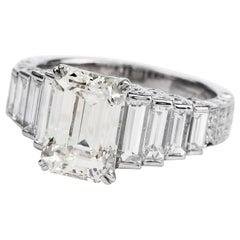 Modern 4.75 Carat Emerald-Cut Diamond Platinum Gold Engagement Ring