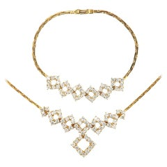 Modern 4.80 Carat Diamond Bracelet and Necklace Set 18 Karat Yellow Gold