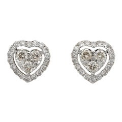 Modern .60 Carat Brilliant Cut Diamond G/H VVS/VS Heart Stud Earrings 18 Karat