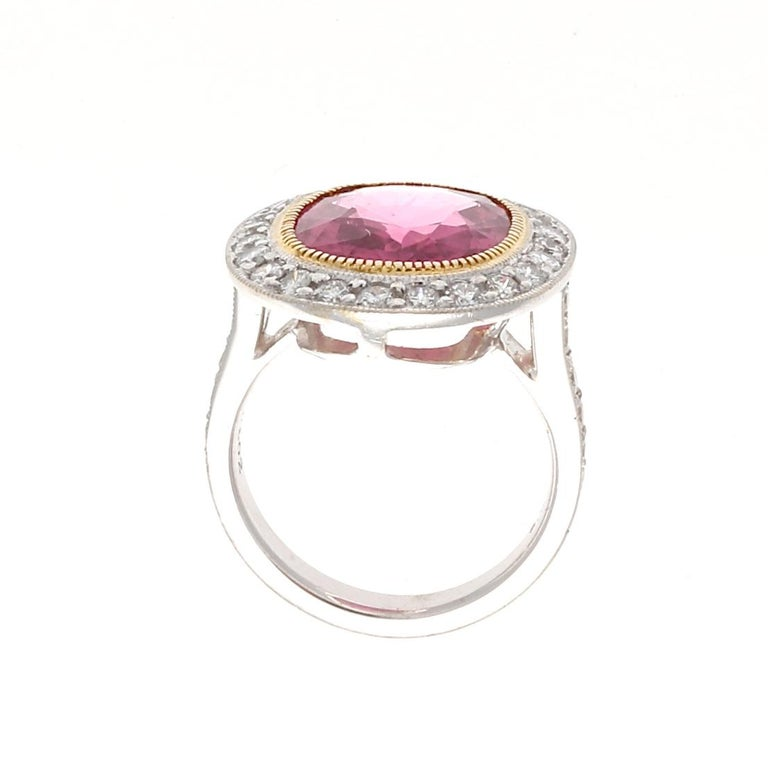 Women's Modern 6.29 Carat Rubelite Tourmaline Diamond Gold Ring For Sale