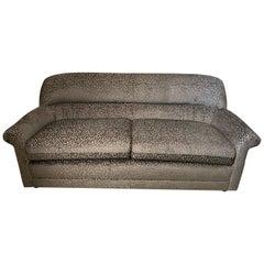 Modern 80s Sculptural Sofa in New Silver Grey Metallic Leopard Jacquard Fabric