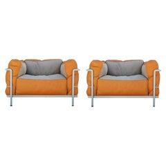 Modern 80th Anniversary Edition EdLe Corbusier LC3 Grand Modele Orange Leather
