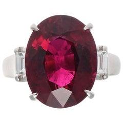 Modern 8.20 Carat Rubelite Diamond Platinum Ring