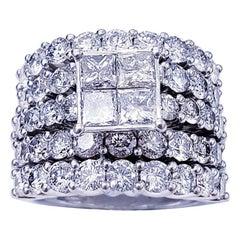 Modern 9 Carat Diamonds Half Eternity 6-Row Engagement Ring