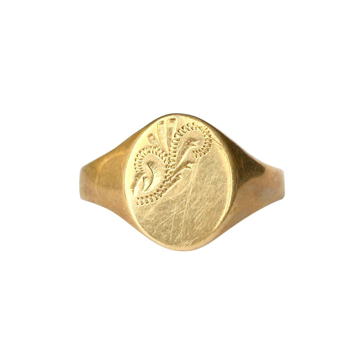 Modern 9 Carat Gold Signet Ring