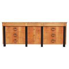 Modern 9 Drawer Dresser with Burl Trim and Black Columns Hollywood Regency