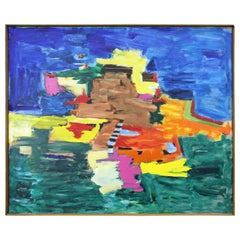 Modern Abstract Art Landscape Acrylic Painting on Canvas 'Outer Banks' Signed