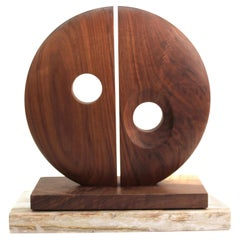 Modern Abstract Carved Wood Tabletop Sculpture with Bisected Disc
