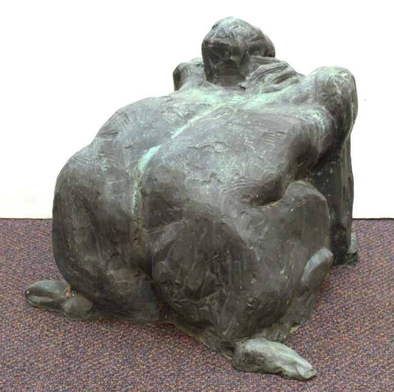 20th Century Modern Abstract Cast Bronze Female Sculpture For Sale