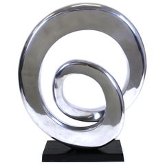Modern Abstract Chrome Ribbon Sculpture