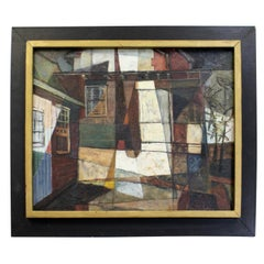 Modern Abstract 'Country House' by Frieda Weinberg Canvas Painting