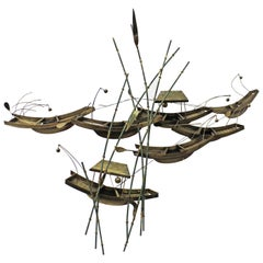 Modern Abstract Curtis Jere Asian Boats and Bamboo Brass Wall Sculpture