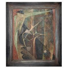 Modern Abstract Dark Mystery Oil Painting Masonite signed Worthington 1960s, USA