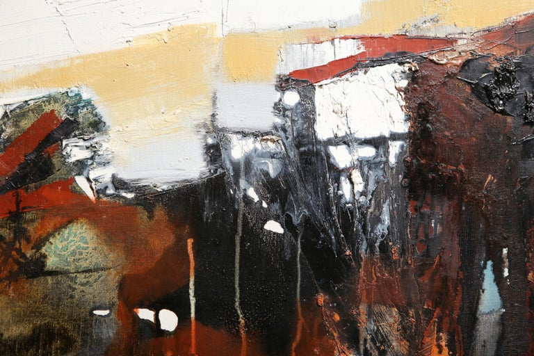 Hand-Painted Modern Abstract Expressionist Oil on Canvas For Sale