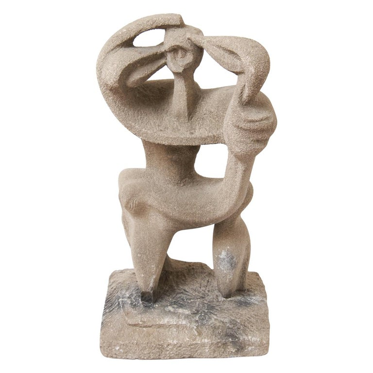 Modern Abstract Figural Sculpture In Concrete For Sale