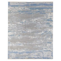Modern Abstract Indian Handmade Blue and Gray Wool and Silk Rug