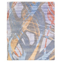 Modern Abstract Indian Handmade Multicolor Wool and Silk Rug