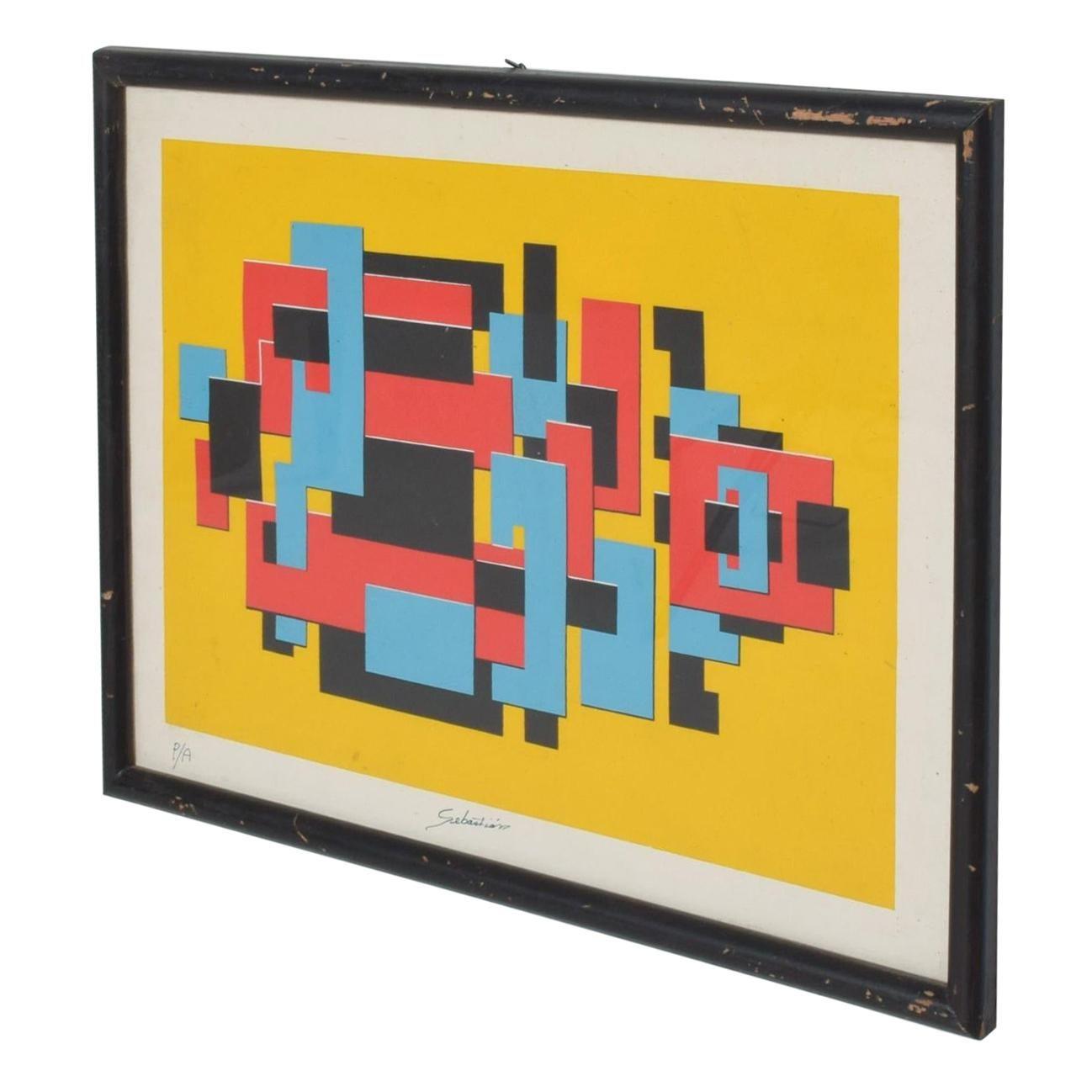 Modern Abstract Lithograph by Mexican Sculptor, Enrique Carbajal, Sebastian 1980