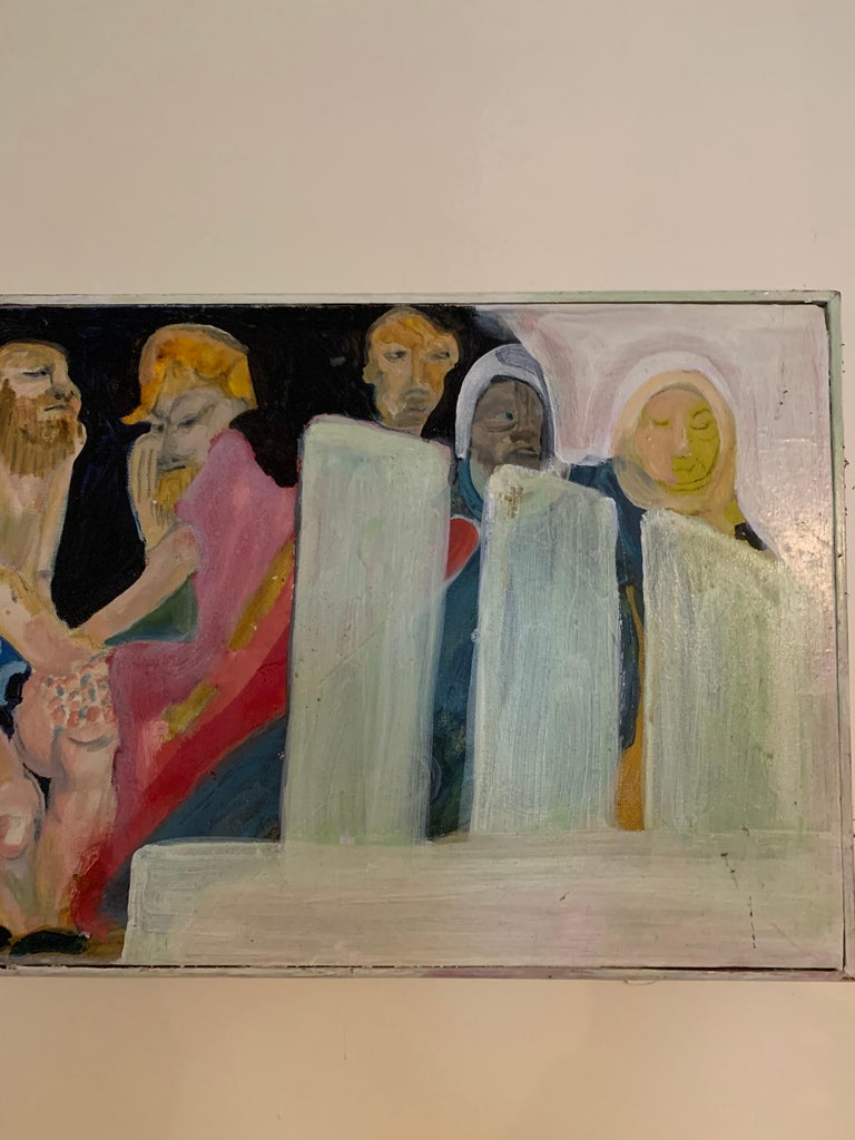 Modern Abstract Long Oil on Canvas Figural Painting In Good Condition For Sale In East Hampton, NY