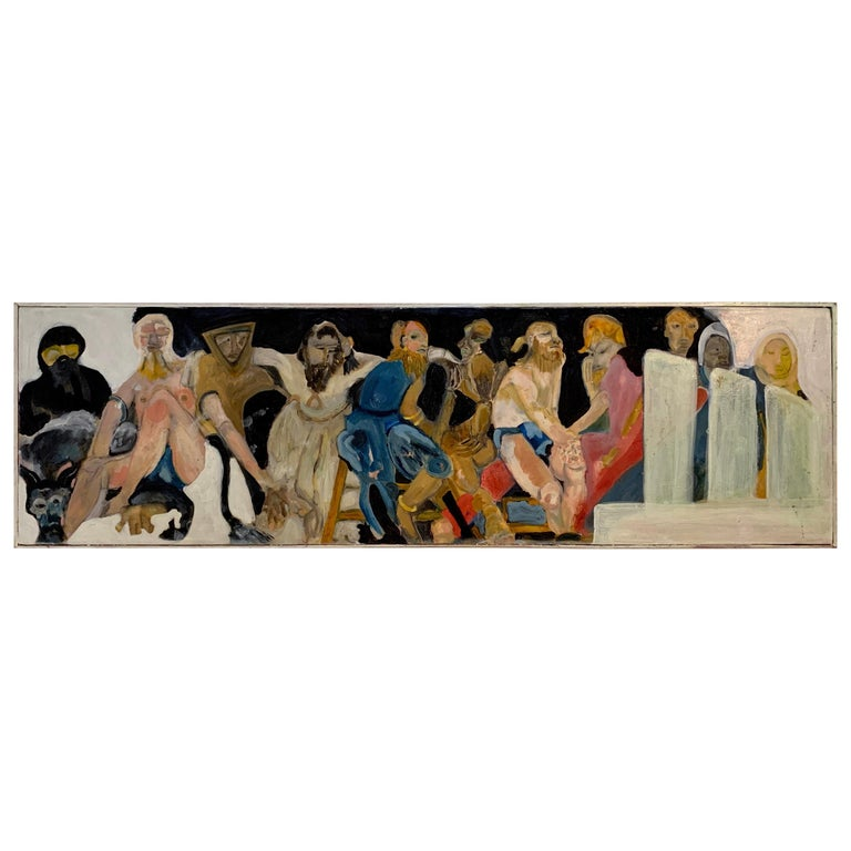 Modern Abstract Long Oil on Canvas Figural Painting For Sale