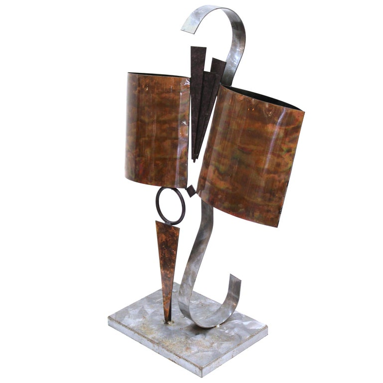 Modern Abstract Metal Tabletop Sculpture For Sale