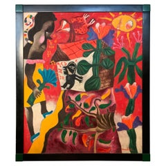 Modern Abstract Oil on Canvas Painting 'Figures in a Garden' Signed Maciel