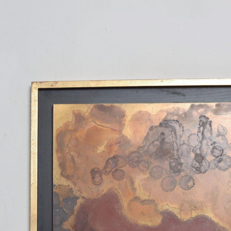 For your consideration: Raul Monjeabstract art in patinated bronze metal, 2003 The artist used a sheet of brass as the canvas, the colors and the shapes were intentionally done with chemicals that changed the color of the brass.   Dimensions: 29