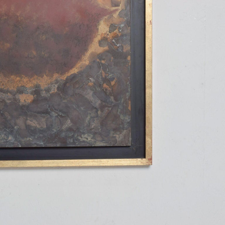 Modern Abstract Painting Bronze Metal Wall Art by Raul Monje, 2003 In Good Condition For Sale In National City, CA