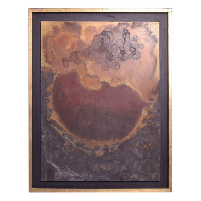 Modern Abstract Painting Bronze Metal Wall Art by Raul Monje, 2003 For Sale