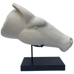 Modern Abstract Plaster Horse Head Bust Sculpture