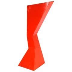 Modern Abstract Red Enameled Metal Sculpture