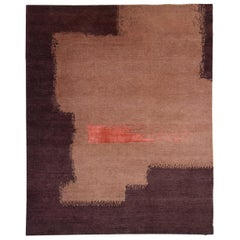 Modern Abstract Red Peach and Coral Hand-Knotted Wool and Silk Rug