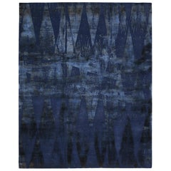 "Modern Abstract Rug ""Diamond Vintage"" Blue Wool and Silk Geometric Pattern"