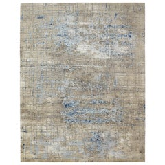 Modern Abstract Rug in Beige and Blue All-Over Geometric Pattern by Rug & Kilim