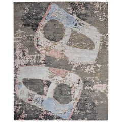 Modern Abstract Rug in Beige Gray and Blue All-Over Pattern by Rug & Kilim