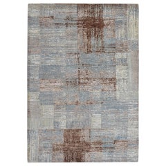 Modern Abstract Rug in Gray Blue and Brown Geometric Pattern by Rug & Kilim