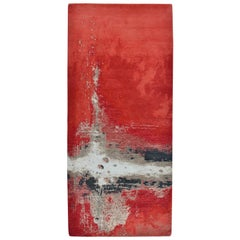 Modern Abstract Rug in Red and Beige Painterly Pattern by Rug & Kilim